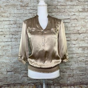 White House black market tan silk top sz XXS